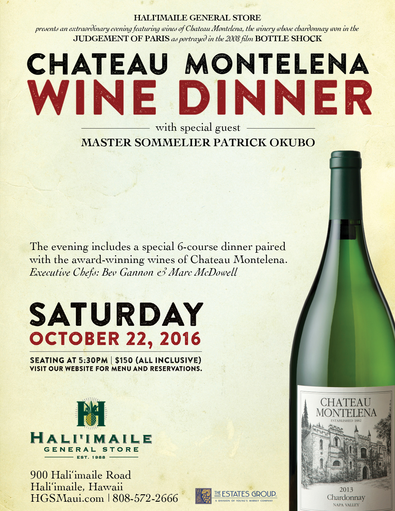 Chateau Montelena Wine Dinner Flyer